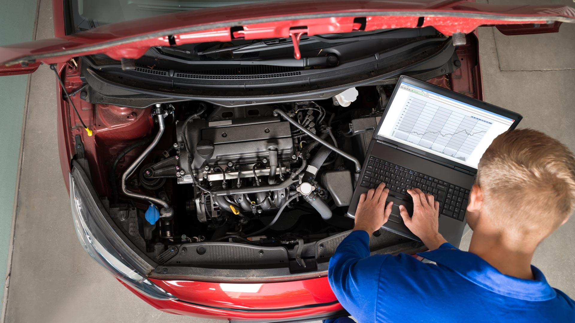 engine diagnostics being carried out using a laptop